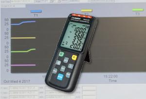 Registrador de datos y termómetro de cuatro canales